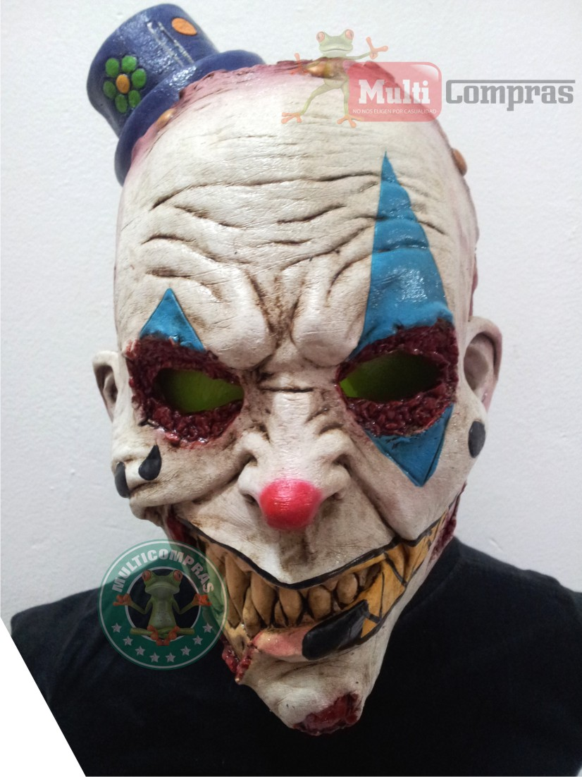 Mascara de latex juvenil payaso diablico zombie disfraz for Caretas disfraces